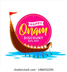 South India's Happy Onam Discount upto 50% off Banner, Logo design, Sticker, Concept, Greeting Card, Template, Icon, Poster, Unit, Label, Web, Mnemonic with rays and Snakeboat race, Vallam-kali team.