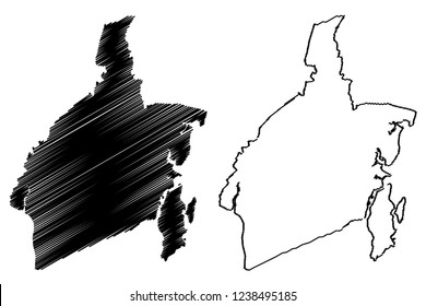 South Kalimantan (Subdivisions of Indonesia, Provinces of Indonesia) map vector illustration, scribble sketch South Kalimantan map