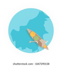 South Kalimantan tourism icon vector, flat illustration concept. Floating market seller with traditional hat ride the canoe boat, view from above/ top.
