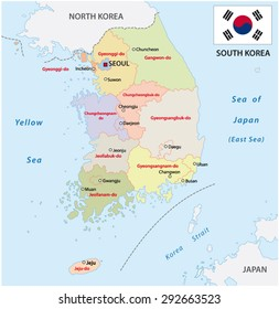 South Korea Map Stock Photo Photo Vector Illustration 160183964