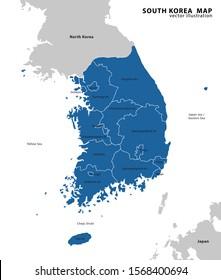 south korea administrative map. vector illustration.