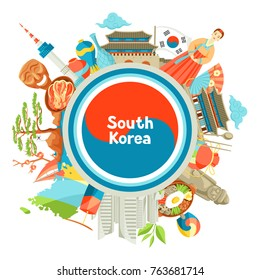 South Korea background design. Korean traditional symbols and objects.