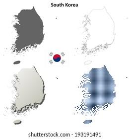 South Korea blank detailed outline map set - vector version
