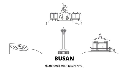 South Korea, Busan line travel skyline set. South Korea, Busan outline city vector illustration, symbol, travel sights, landmarks.