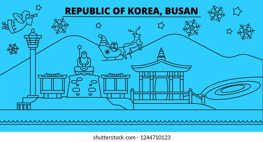 South Korea, Busan winter holidays skyline. Merry Christmas, Happy New Year decorated banner with Santa Claus.South Korea, Busan linear christmas city vector flat illustration