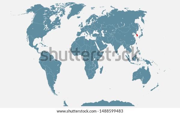 South Korea Country World Map Vector Stock Vector (Royalty ...