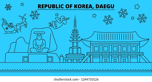 South Korea, Daegu winter holidays skyline. Merry Christmas, Happy New Year decorated banner with Santa Claus.South Korea, Daegu linear christmas city vector flat illustration