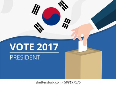 South Korea democracy political process selecting president or parliament member with election and referendum freedom to vote vector illustration