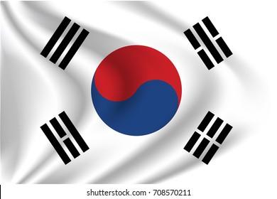 South Korea flag background with cloth texture.  South Korea flag vector illustration.