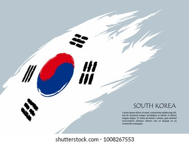 South Korea flag, brush stroke background. Grunge style vector icon.