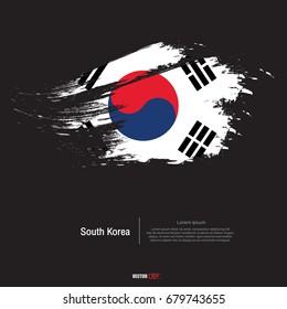 South Korea flag with brush stroke background,poster,vector illustration