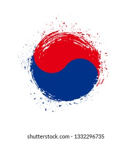 South Korea flag grunge style. Round South Korea flag  vector icon in brushstroke texture isolated on white background. National patriotic symbol design concept for web, business, cover and art.