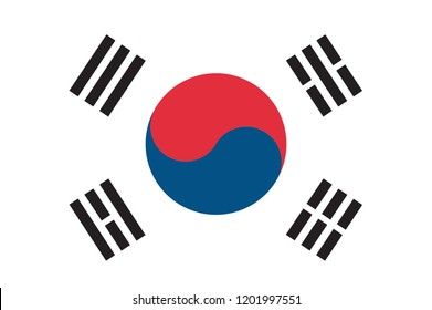 South Korea Flag Made with Official Korean National Colors and Correct Proportions - Black Blue and Red Elements on White Background - Vector EPS 10. Accurate dimensions, element proportions and color