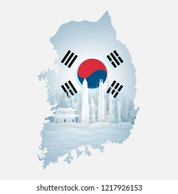 South Korea flag with map and famous landmarks in paper cut style vector illustration.