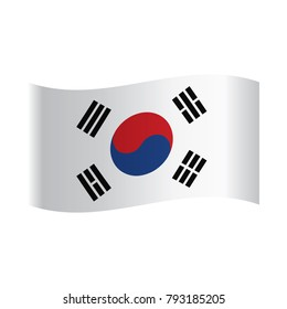 South Korea Flag, National flag of South Korea: blue and red yin and yang symbol with four black trigrams on white background.