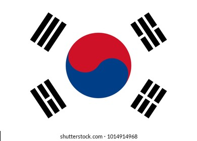 South Korea flag with official colors and the aspect ratio of 2:3. Flat vector illustration.
