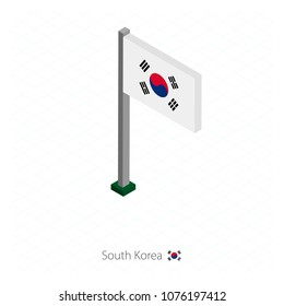 South Korea Flag on Flagpole in Isometric dimension. Isometric blue background. Vector illustration.
