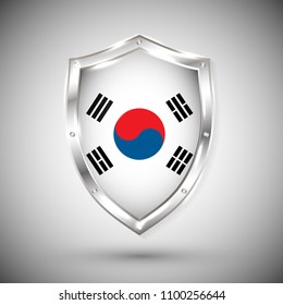 South Korea flag on metal shiny shield vector illustration. Collection of flags on shield against white background. Abstract isolated object.