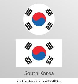 South Korea flag set. Korean national symbol. Vector illustration.
