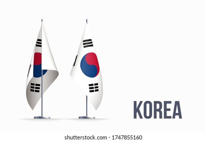 South Korea flag state symbol isolated on background national banner. Greeting card National Independence Day of the Republic of Korea. Illustration banner with realistic state flag.
