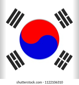 South Korea Flag Vector illustration with the Blue and Red Yin Yang / Taegukgi Emblem on the Center