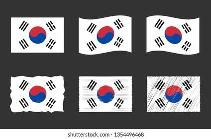 South Korea flag vector illustration, official colors of the Republic of Korea flag