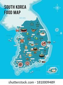 South Korea. food. map. Vector illustration