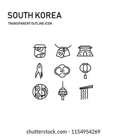 south korea icon design with transparent thin line including 9 icon, korea drum, love lock, palace, ginseng, camellia, ancient lamp, seoul tower, grilled
