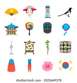 South Korea icons set, vector illustration. Collection of Korean traditional elements. Traditional clothes, food, nature, buildings, hahoe etc.