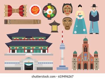 South Korea illustration, vector, landmark, culture
