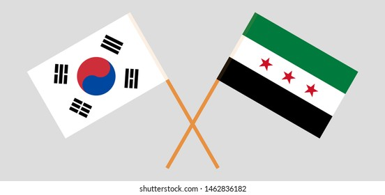 South Korea and Interim Government of Syria. Crossed Korean and Coalition flags