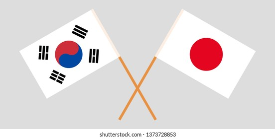 South Korea and Japan. The Korean and Japanese flags. Official colors. Correct proportion. Vector illustration