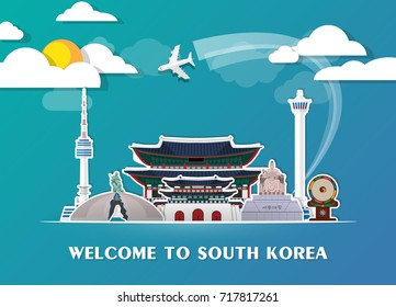 South Korea Landmark Global Travel And Journey paper background. Vector Design Template.used for your advertisement, book, banner, template, travel business or presentation