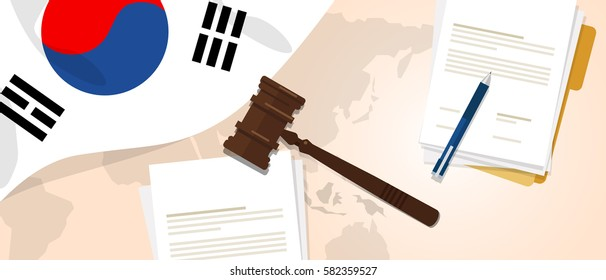 South Korea law constitution legal judgment justice legislation trial concept using flag gavel paper and pen vector