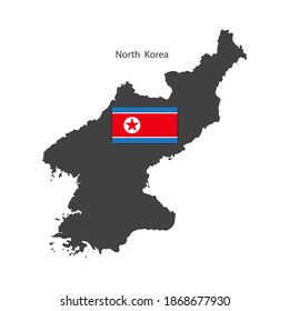 South korea map. Abstract poster with silhouette north korea. Korean traditional line. Stock image.