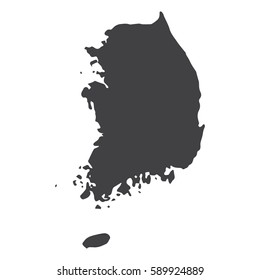 South Korea map in black on a white background. Vector illustration