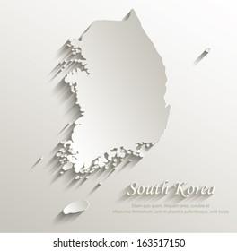 South Korea map card paper 3D natural vector