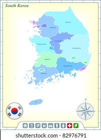 South Korea Map with Flag Buttons and Assistance & Activates Icons Original Illustration