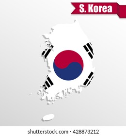 South Korea map with flag inside and ribbon
