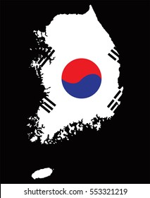 South Korea Map with Flag Vector