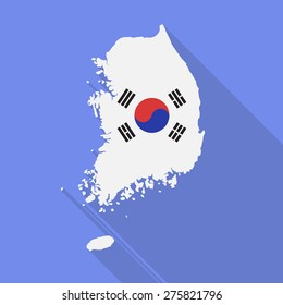 South Korea map flat icon with long shadow. Vector EPS10