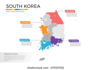 South Korea map infographics vector template with regions and pointer marks