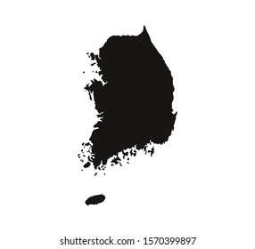 South Korea map on white background. Vector illustration.