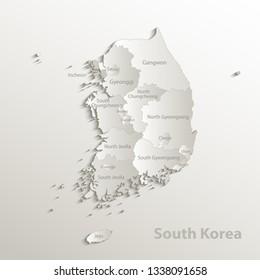 South Korea map separate region names individual card paper 3D natural vector