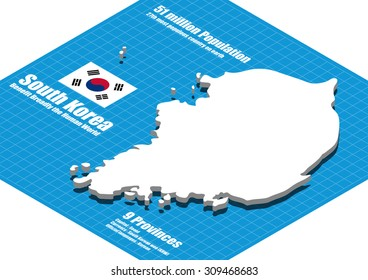 South Korea map vector three dimensional