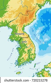 South Korea and North Korea physical vector map
