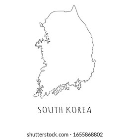 South Korea one line drawing on white isolated background. Abstract outline of the country, geographical map. Vector illustration