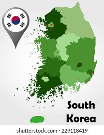 South Korea political map with green shades and map pointer.