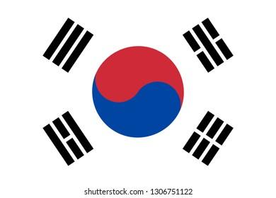 South Korea Republic of Korea Korean flag. Vector EPS 10