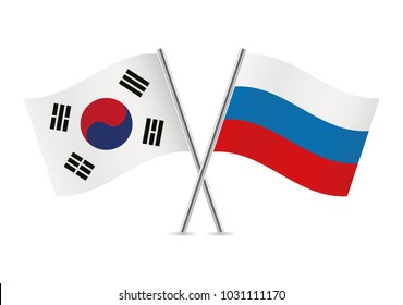 South Korea and Russia flags. Vector illustration.